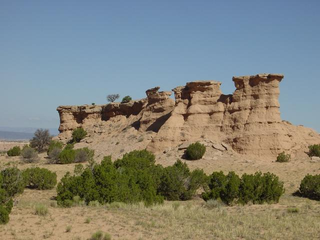 striking rock formation on the road from Santa Fe to Taos.